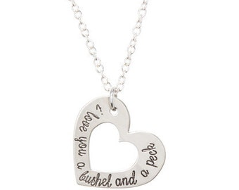 I Love You A Bushel And A Peck - Silver Custom Heart Name Necklace - Hand Stamped Jewelry - Personalized Jewelry - Engraved Jewelry