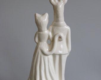 Deer and Cat  Wedding Cake Topper  Handmade ceramic