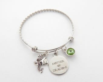 Mother of Dragons Bracelet, Cute Dragon Jewelry, Dragon Gift, Fantasy Bracelet, Silver dragon jewelry, Dragon Charm, Mythical Jewelry
