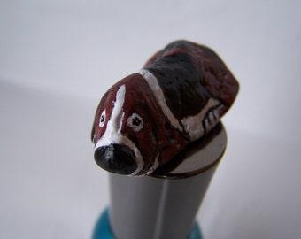 Basset Hound, dogs, painted rock, fairy garden miniatures, fairy garden accessories, dolls & miniatures earthspalette