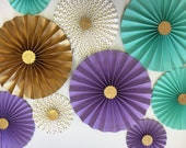 Mermaid Paper Fans | Under The Sea Decor | Mermaid Birthday Decor | Mermaid Lavender, Gold & Aqua Rosette Backdrop | Purple and Aqua Fans