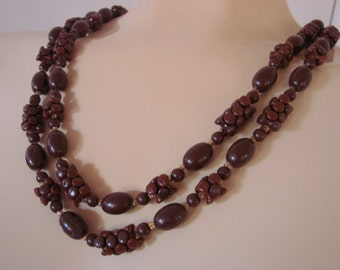 Vintage Retro Flapper Length Brown Lucite Bead Necklace Jewelry Jewellery