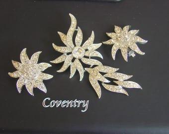 Vintage Sarah Coventry Rhinestone Demi Parure Brooch Earrings Designer Signed Pendant Dangle Wedding Bridal