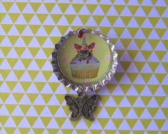 Bottle Cap Cupcake Brooch Pin