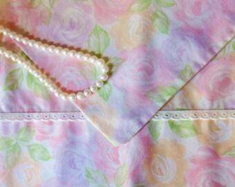 Pastel Rose Pillowcase, Standard Size Floral Pillowcase, Dan River Tranquale Percale Pillowcase