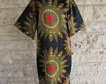 Vintage Kaftan Dress 70's Dashiki Dress Medium Ethnic Boho 70's Black Caftan Dress Bell Sleeves