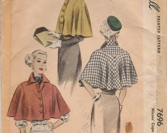Beautiful 1940s Capelet Pattern McCalls 7696 Size 14