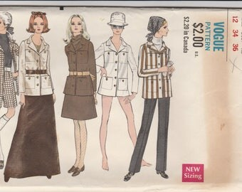 70s Safari Jacket, Skirt, Pants & Shorts Pattern Vogue 7447 Size 12