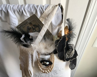 Vintage Decorative Wall Purse with Pearls, Lace Gloves, Feathers, Black Monogrammed Hanky, Brooch, Regency Picture Dried Roses and Tulle.