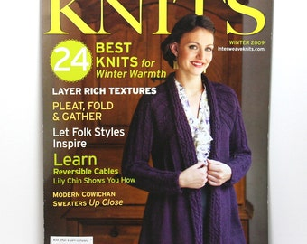 Interweave Knits, Knitting Magazine, Winter 2009, 24 Knitting Patterns, Sweater Patterns, Classic Knitwear Designs, Collectible Issue