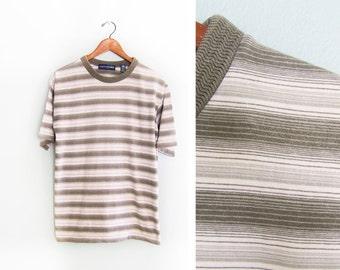 vintage t shirt / striped / grunge / oversize / 1990s green grunge drab striped oversize t shirt Small