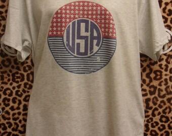 USA printed v-neck t-shirt  adult s, m, l, xl, xxl (2X)
