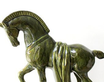 Classic horse vintage desk statue / hunter green ceramic horse figurine / decorated war horse statue / horse collectible / equestrian gift