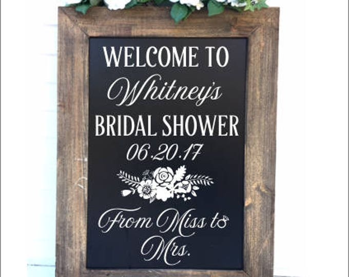Bridal Shower Decal Rustic Floral Wedding Decal Bride to Be Shower Decor Vinyl Decal for Bridal Shower From Miss to Mrs Personalized Decal