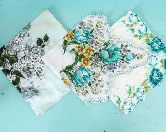Vintage teal and aqua handkerchief collection 3, vintage handkerchiefs, floral hankies, wedding hankies, flowergirl hankies, ladies hankies