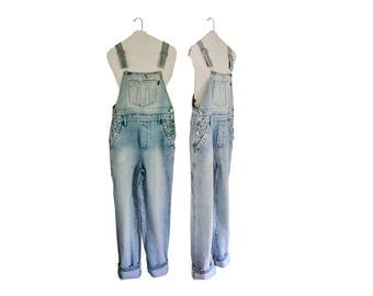 Women Denim Overall Pants 90s Overalls Women Bib Overall Dungarees Salopette Long Overalls Blue Jean Over All 90s Clothing 90s Clothes