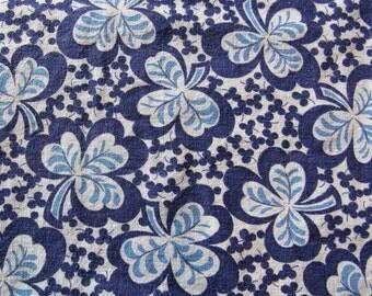 recycled vintage FULL feed sack fabric -- shades of blue shamrock print
