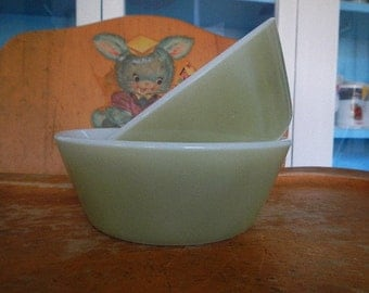 Vintage Federal Milk Glass Fired-On Olive Green Cereal Bowls
