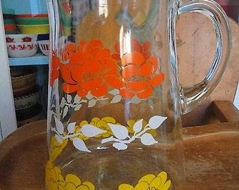 Hazel Atlas White Yellow Orange Floral Flowers Glass Pitcher Candy Corn Colors