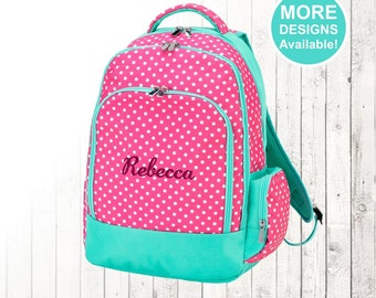 Personalized Youth Backpack, Pink Polka dot backpack, Embroidered Kids Backpack, Elementary School Backpack, Monogrammed Backpack,