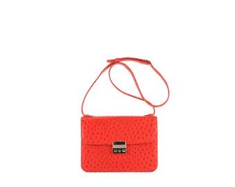 Leather saddle shoulder bag AMALIA // red ostrich effect (Italian calf skin) - FREE shipping, unique