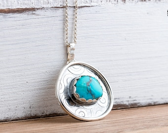 Aqua Blue Morenci Turquoise Gemstone Necklace in Sterling Silver with Swirly Border - Huge Aqua Teal Blue Bohemian Boho Navajo Necklace