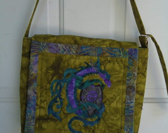 Dragon Purse / Quilted Dragon / Zoomorphic Dragon/ Fantasy Art / Hand Made