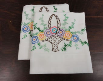 Vintage Pillowcase Pair - Embroidered Floral Baskets - Brown Green Blue Purple - Home Made Pillow Cases - Easy Care