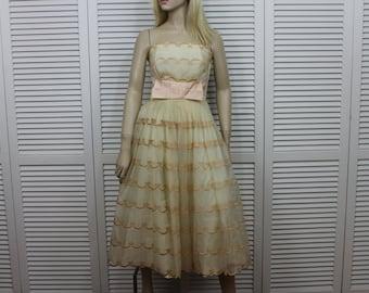 Vintage Prom Dress 1950s Pink Beige