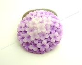 38mm Wisteria Purple Hydrangea Flower Resin Cabochons - 2pcs - Round Flat Back Cabs, Floral - BC36