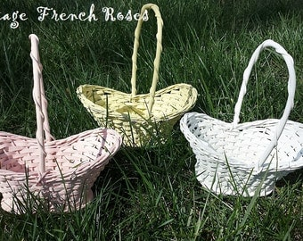 Vintage Easter Baskets Set/3 Florist Baskets Pink White Yellow Hand Painted Easter Decor ShabbyChic Romantic Cottage French Farmhouse Style