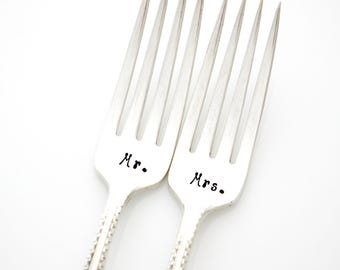 Mr and Mrs Wedding Forks, hand stamped silverware for unique engagement gift.