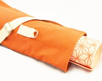 Minimalist orange yoga mat crossbody bag
