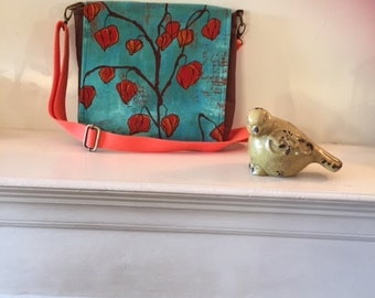 Messenger Bag/ CrossbodyBag/ShoulderBag Teal and Orange Lanterns