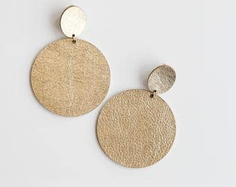 Large gold disc leather earrings- oversize metallic gold disc drop earrings- large gold earrings- minimal geometric large statement earrings