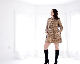 Vintage tan cotton mini dress, long sleeves, S M 1960s 1970s