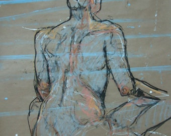 ORIGINAL Drawing-Nude female-Charcoal-Pastel-Figure study-Art on paper-Large drawing-Affordable wall art-Home decor-Expressive art-Modern