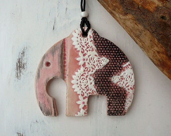 Handmade Pottery Elephant Wall Hanging, A symbol of Removing Obstacles, Ceramic Elephant Home Decor, Good Luck Charm, Ready To Ship.