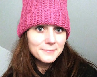 Pink Pussyhat - Pussy Hat Project - Kitty Hat - Womens March - Pink Pussy Hat - Crochet Hat - Feminist Hat - Pussyhat Project - Pink Cat Hat
