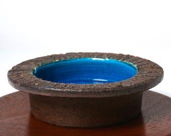 Vintage Bitossi Italian pottery large ashtray bowl 1960s Aldo Londi Rimini Blu, mid century modernist brutalist desk decor