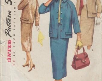 1956 Women's Suit Sewing Pattern | Vintage Simplicity 1798 | Size 16, Bust 36 | Long Slim Skirt | Womens Jacket | 1950s Misses Suit Pattern