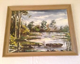 Framed Vintage Landscape Watercolor Painting Signed Antonie Lake Dock Boat River