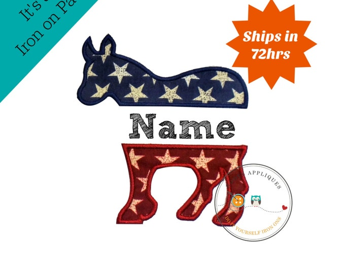 PatrioticDemocrate party donkey iron on applique- red white and blue fabric machine embroidered fabric patch-DIY boutique fashions