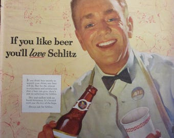 SCHLITZ BEER 1950s Vintage Ad Retro Man Cave Decor Alcohol Bar Beer Can Milwaukee Original Vintage Magazine Ad Ready To Frame