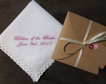 Mother of the Bride - Wedding Handkerchief With Free Gift Envelope - Shown with Light Pink Writing