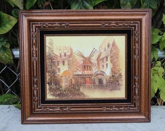 Signed Zillmer Moulin Rouge Oil Painting on Canvas Framed Vintage