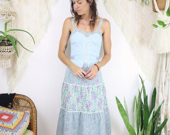 70s Prairie Dress, Boho vintage Floral Sundress Gunne Sax-style, 4135