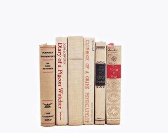 Sunset Beige Antique BOoks, Decorative Books, Cream Book Decor, Peach Book Collection, Wedding Table Setting Centerpiece, Interior Design