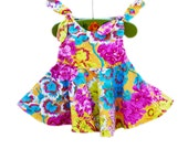 Hawaii Floral Twirl Dress - Toddler Girls Dress - Vintage Style - Summer Outfit - Baby Shower - Birthday Gift - Handmade in USA