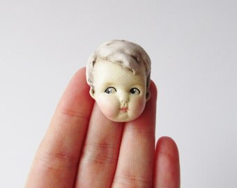 Antique Doll Pin Lilac Hair - Dottie's Doll Face Brooch Teddy